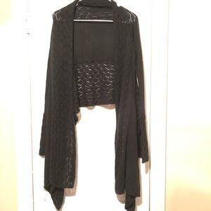 Cejon open Front Black Sweater